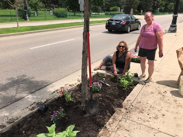 Team effort on Auburn St flower bed