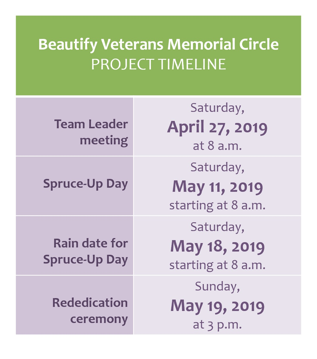 Project timeline_Beautify Veterans Memorial Circle in Rockford Illinois