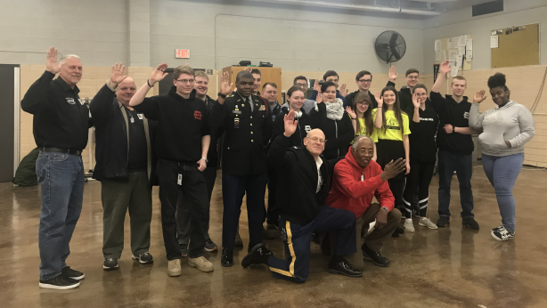 Auburn JROTC leadership staff photo_March 6 2019_Beautify Veterans Memorial Circle project